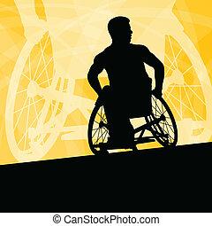 detalhado, conceito, silueta, cadeira rodas, homens, jovem,...