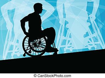 detalhado, conceito, silueta, cadeira rodas, homens, jovem, ...