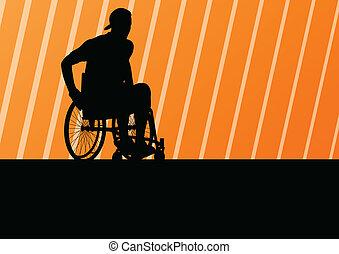 detalhado, conceito, silueta, cadeira rodas, ilustração, ...