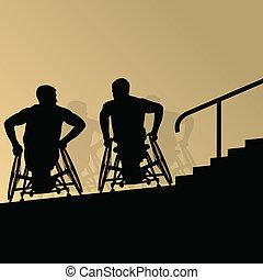 detalhado, conceito, silueta, degrau, cadeira rodas, homens, jovem, ilustração, incapacitado, vetorial, saúde, fundo, ativo, passos, cuidado