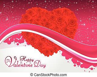 detalhado, coração, rosa, abstratos, ilustração, valentine, vetorial, artisticos, vermelho