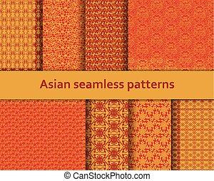 detalhado, decorativo, illustration., set., seamless, tradicional, padrões, vetorial, asiático, laranja, motifs., vermelho, colors.