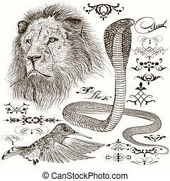 detalhado, desenhado, jogo, animais, mão
