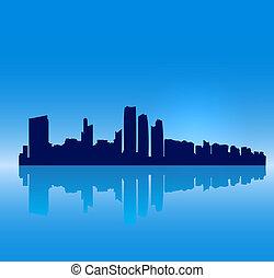 detalhado, dhabi, silueta, skyline, vetorial, abu