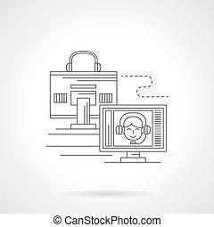 detalhado, distância, comunicações, vetorial, linha, ícone