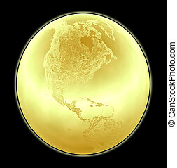 detalhado, dourado, feito, norte, metálico, terreno, globo...