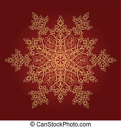 detalhado, dourado, snowflake, fundo, vermelho