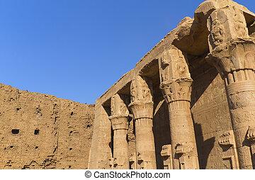 detalhado, egypt), (edfu, vista, pilares