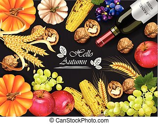 detalhado, fundos, milho, realistic., abóbora, 3d, colheita, escuro, outono, vetorial, vinho, grapes., uvas, nozes, cartão, design.
