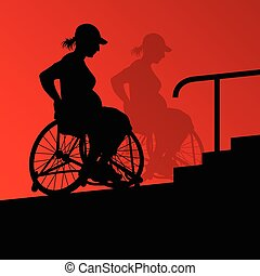 detalhado, grávida, cadeira rodas, jovem, incapacitado, ...