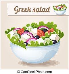 detalhado, grego, icon., salad.