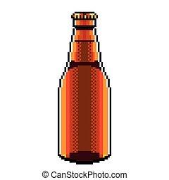 detalhado, isolado, ilustração, cerveja, vetorial, garrafa, pixel