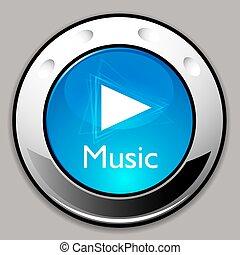 detalhado, jogador, botão, música, cromo