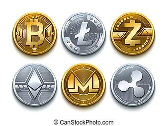 detalhado, jogo, litecoin, monero, moedas, icons., cryptocurrency, ondulação, vetorial, ethereum, zcash, digital, bitcoin