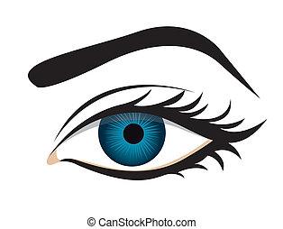 detalhado, lashes olho, sobrancelha
