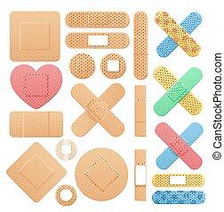 detalhado, médico, realístico, cor, gesso, remendo, faixa, vetorial, ajuda, set., 3d