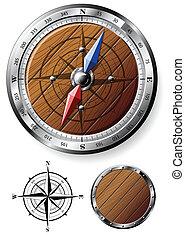 detalhado, madeira, compasso