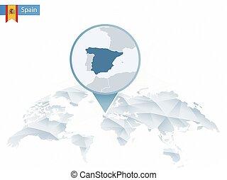detalhado, mapa, arredondado, abstratos, map., fixado, mundo, espanha