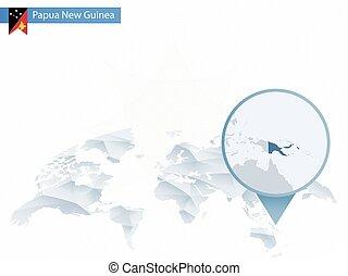detalhado, mapa, arredondado, guiné, abstratos, map., fixado, mundo, novo, papua