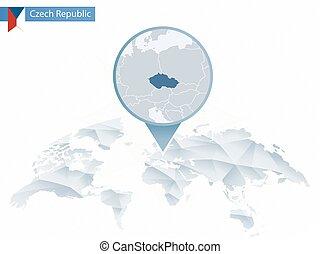 detalhado, mapa, arredondado, tcheco, abstratos, map., fixado, república, mundo