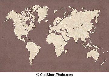 detalhado, mapa, estilo, vindima, ilustração, alto, mundo