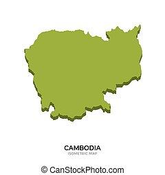 detalhado, mapa, isometric, ilustração, vetorial, cambodia