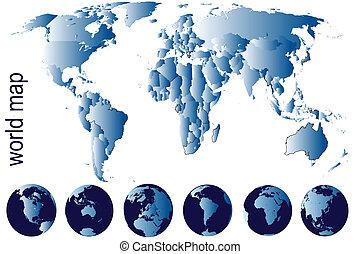 detalhado, mapa, mundo, globos, terra