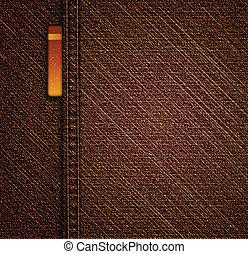 detalhado, marrom, calças brim, texture., vetorial