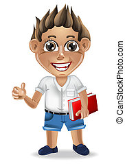 detalhado, menino, escola, cute, personagem, ilustração, vector., caricatura, feliz