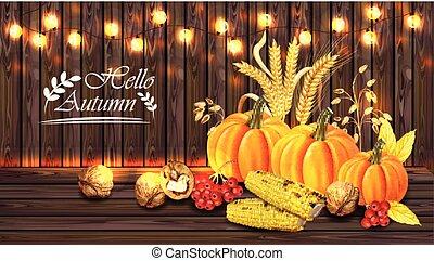 detalhado, milho, realístico, madeira, abóbora, outono, luzes, vetorial, cartão, fundo, 3d, colheita, walnuts., design.