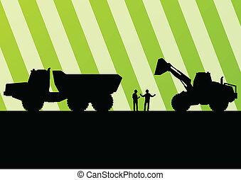 detalhado, mineração, escavador, local, ilustração, tratores, silhuetas, vetorial, fundo, construção