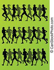 detalhado, mulher, cobrança, silhuetas, vetorial, ilustração, fundo, ativo, corredores, maratona, homem