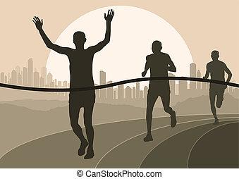 detalhado, mulher, ilustração, maratona, ativo, corredores, homem