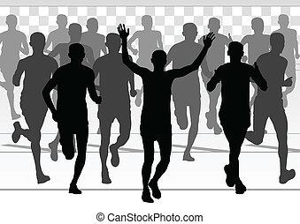 detalhado, mulher, maratona, ativo, corredores, homem