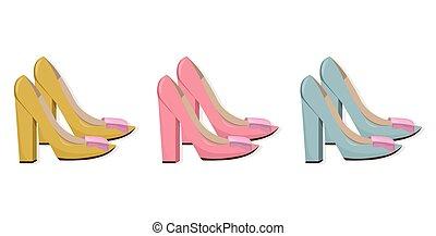 Detalhado, mulher, sapatos, ilustração, alto, vetorial