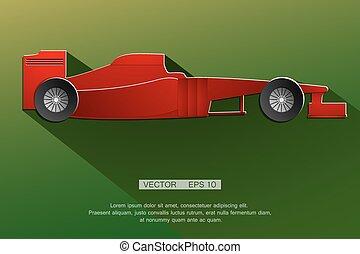 detalhado, myself, raça carro, projetado, fórmula, vermelho