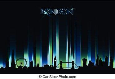 detalhado, néon, silueta, ilustração, skyline, vetorial, londres