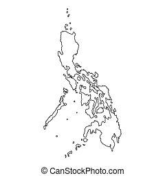 detalhado, país, filipinas, esboço, alto