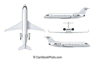 detalhado, passageiro, regional, jato, avião, voando, aeronave, isolado, avião, ar, experiência., airliner., topo, vetorial, ilustração, branca, frente, vista lateral