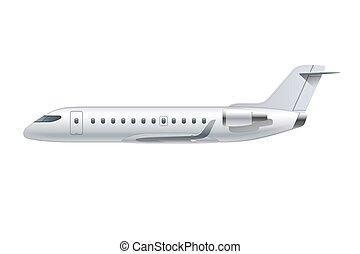 detalhado, passageiro, regional, jato, avião, voando, aeronave, isolado, vetorial, ar, experiência., airliner., avião, ilustração, branca, vista lateral