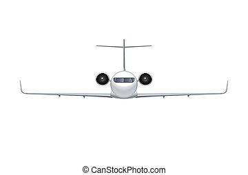 detalhado, passageiro, regional, jato, avião, voando, aeronave, isolado, vetorial, ar, experiência., airliner., avião, ilustração, frente, branca, vista