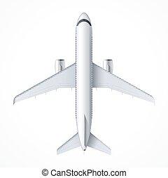 detalhado, passageiro, voando, jato, avião, topo, airliner., isolado, vetorial, ar, experiência., avião, ilustração, aeronave, branca, vista