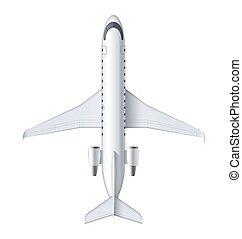 detalhado, passageiro, voando, jato, avião, topo, regional, isolado, vetorial, ar, experiência., airliner., avião, ilustração, aeronave, branca, vista