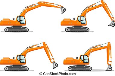 detalhado, pesado, diferente, illustration., escavador, equipment., mineração, ilustração, máquina, vetorial, position., crescimento, construção