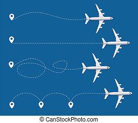 detalhado, pista, set., avião, realístico, vetorial, 3d