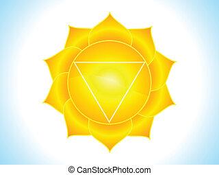 detalhado, plexus, chakra, solar