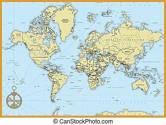 detalhado, político, mapa mundial