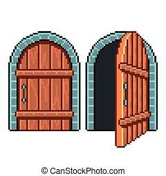 detalhado, porta, isolado, ilustração, vetorial, fechado, abertos, pixel