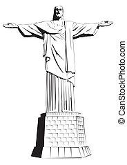 detalhado, redentor, vect, -, christ