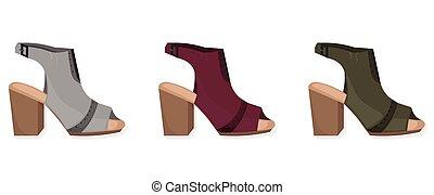 Alto, sapato, calcanhar. Bonito, ilustração, calcanhar alto
